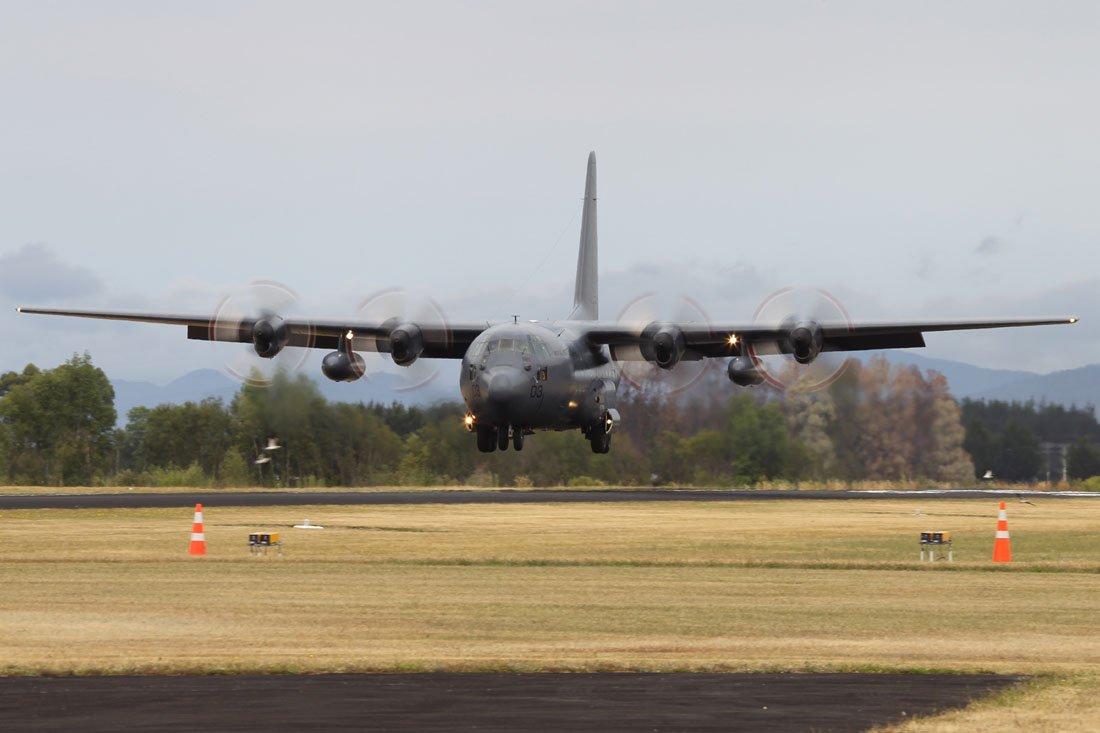 Lockheed C 130H Hercules aircraft landing at Wings over Wairarapa Airshow