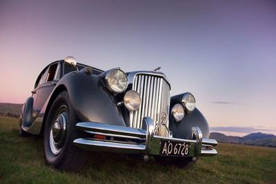 The front of classic 1950's Jaguar in the Omaka Classic Cars Collection