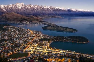 Looking down on Queenstown and Lake Wakatipu at dusk