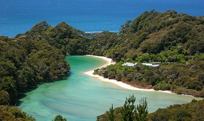 Aerial view of lagoon Abel Tasman National Park - used to link to Leisure Time Tours New Zealand Tours page