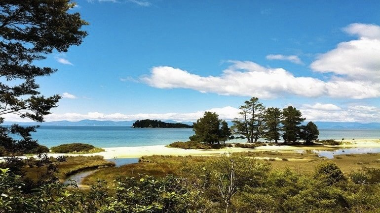 View across the land out to sea at Abel Tasman National Park