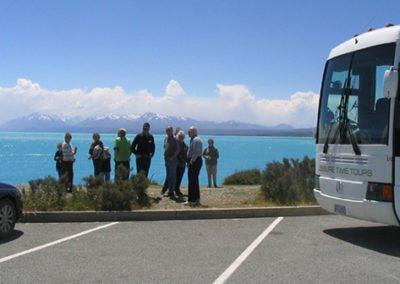 Leisure Time Tours passengers looking out over Lake Tekapo