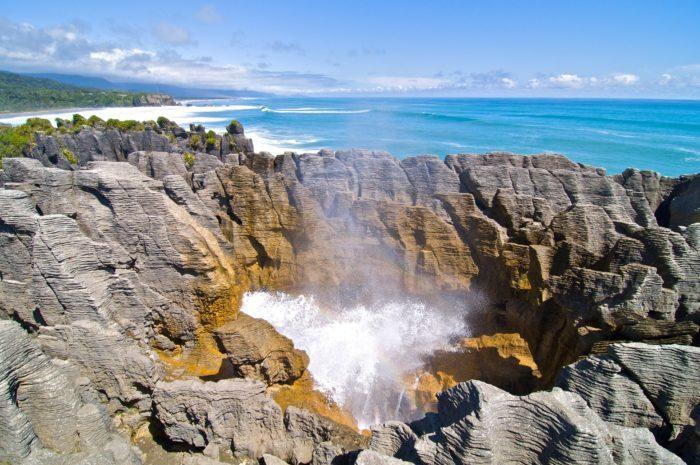 Huka Falls Waikato river flowing over the large falls