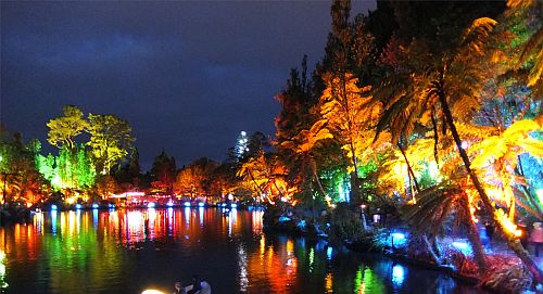river with trees and bush on either side covered in lights