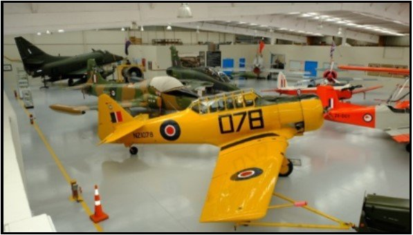 Large garage with seven historic planes