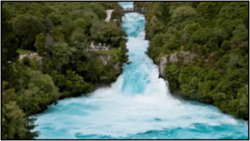 Huka Falls Waikato river flowing over the large falls