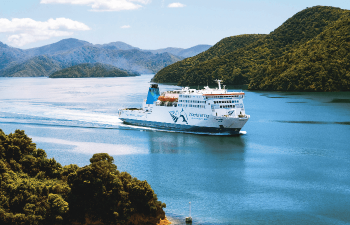 Interislander ferry sailing between North and South Island New Zealand
