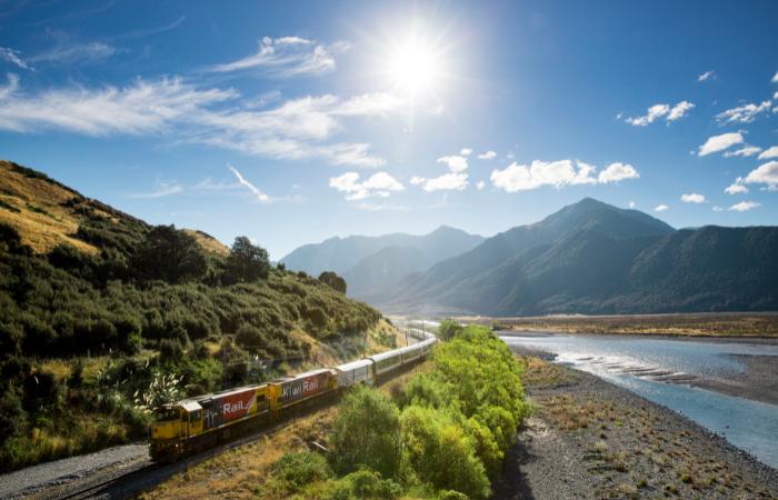 Tranz Alpine scenic train in South Island New Zealand