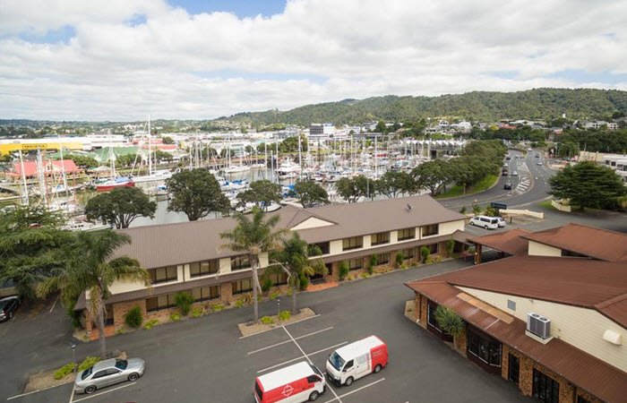 Distinction Whangarei Aerial view with boats in background