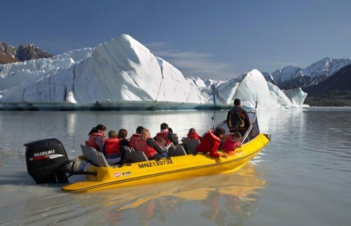 Group on the boat at Tasman Glacier Explorer