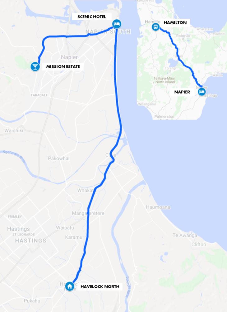Hawkes Bay Historic Homes Tour Map