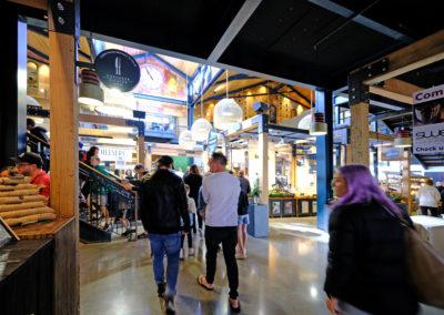 Christchurch Riverside Market people walking in