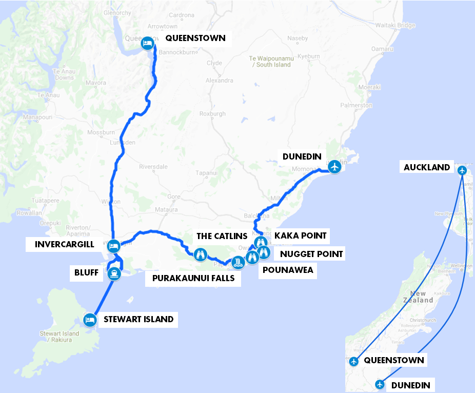 Southland and Stewart Island Tour Map