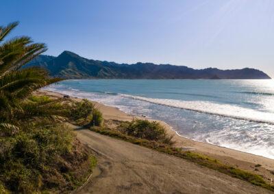 Tokomaru Bay Beach with the surrounding landscape