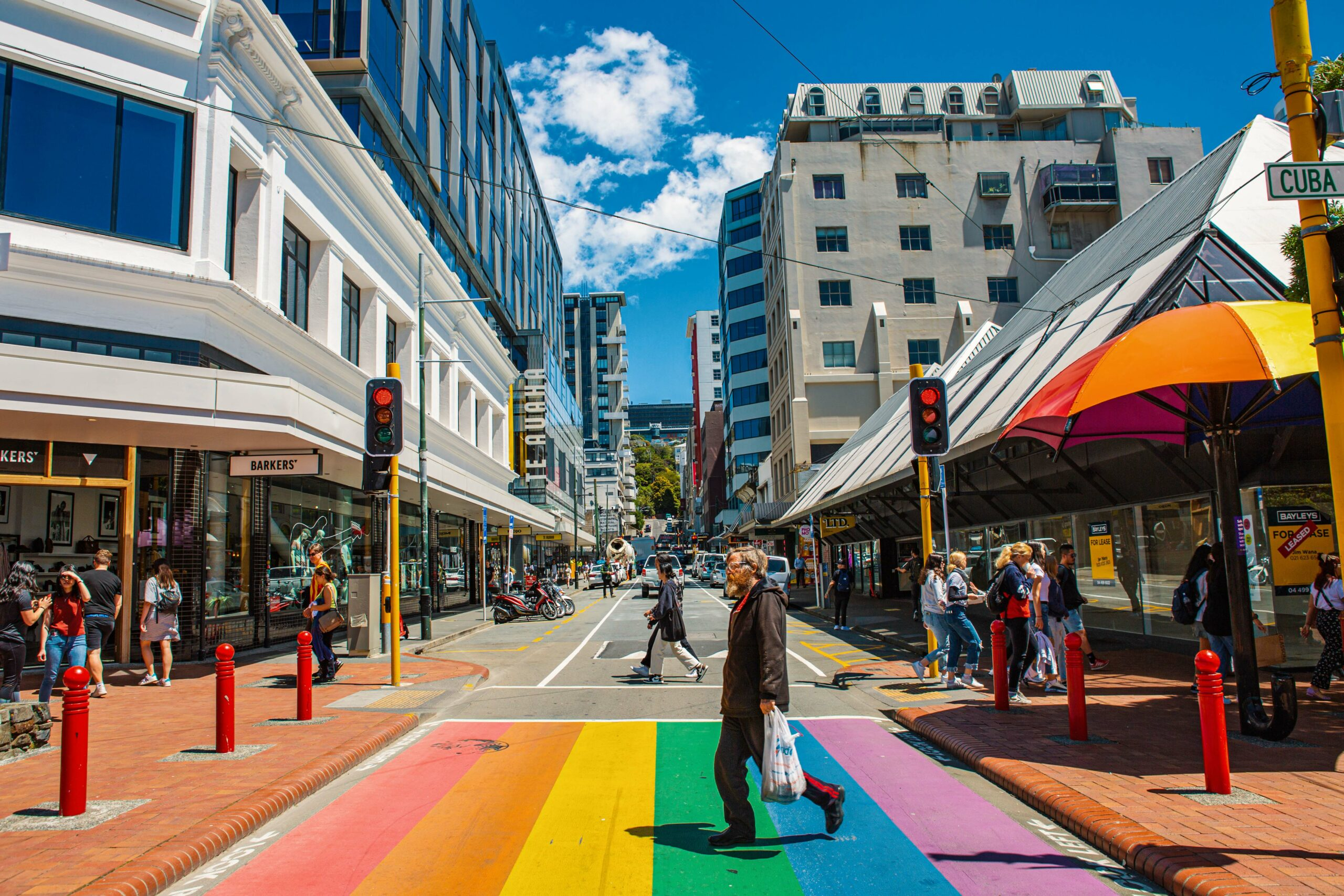 Poeple walking the rainbow crossing at Cuba Street - Credit Required - Credit Celeste Fontein